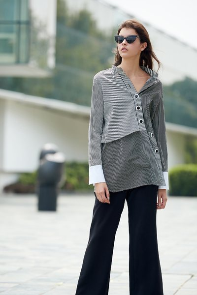 stitching popular design long-sleeved top