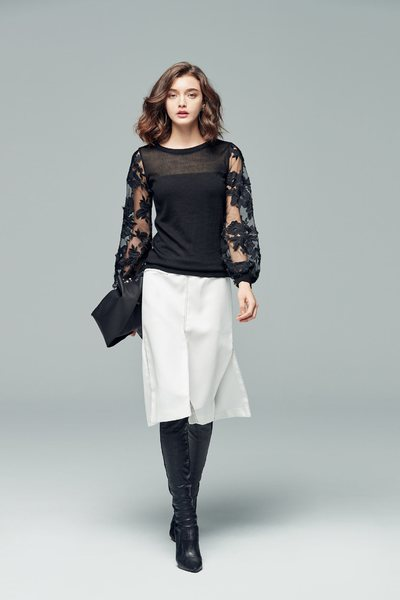 Romantic floral lace knitted tops