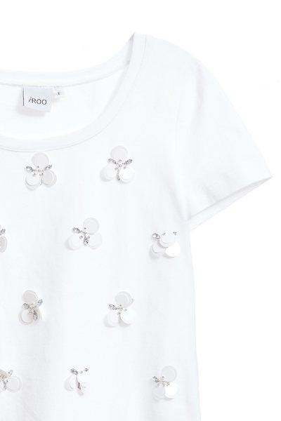 Sequined cotton short-sleeved T-shirt