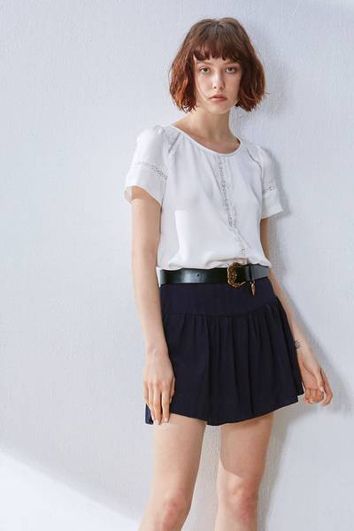 Micro-transparent design short-sleeved top