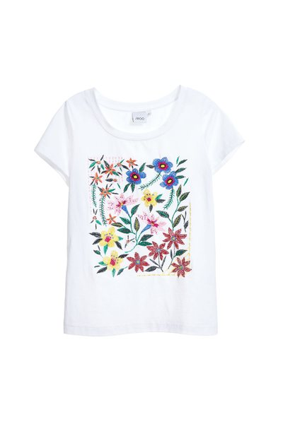 Minimalism embroidered cotton T-shirt