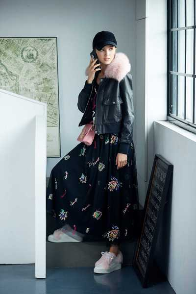 Coat with pink collar
