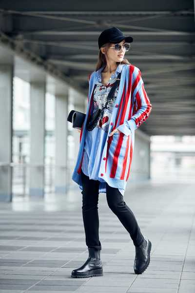 long sleeve color matching striped button knit cardigan