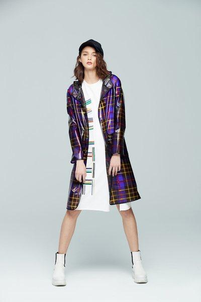Hooded plaid fashion coat