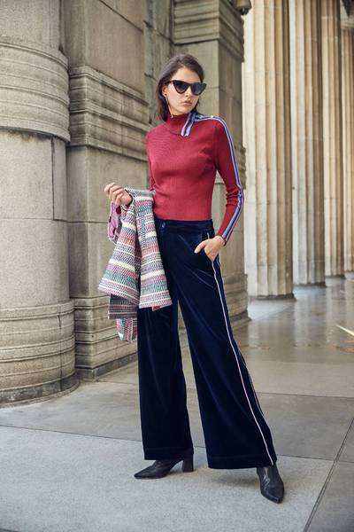 Draped wide leg pants