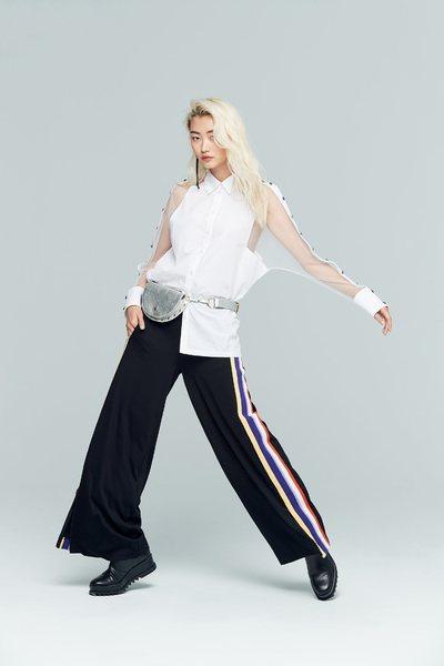 Side color strip fashion pants