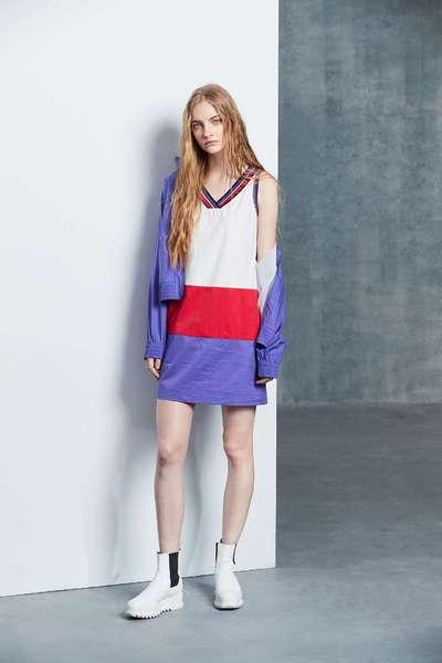 Color matching V-neck popular design sleeveless dress