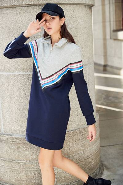 Casual Contrast Color long sleeve dress
