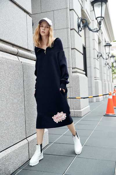 casual  patch graphic  dress