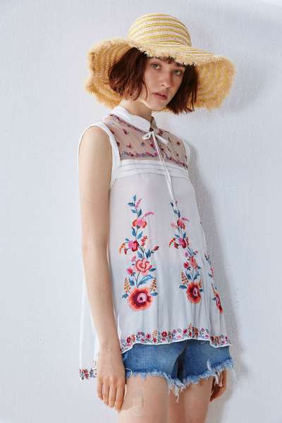 Folk style embroidery vest