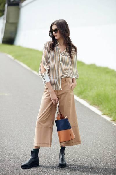 long sleeve striped chiffon blouse top