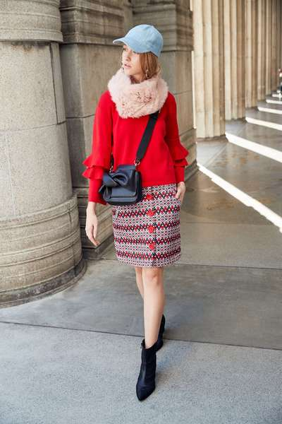 red knitted long sleeves with ruffle sleeves