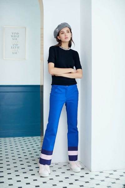 Contrast color long pants