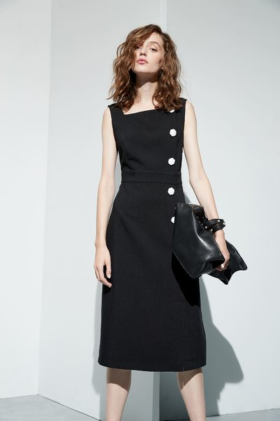 Buckle slim classic dress