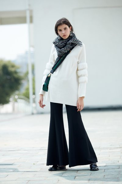 Different material stitching knit long-sleeved tops