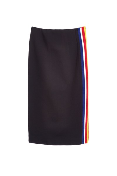 side stripe color spliced pencil skirt